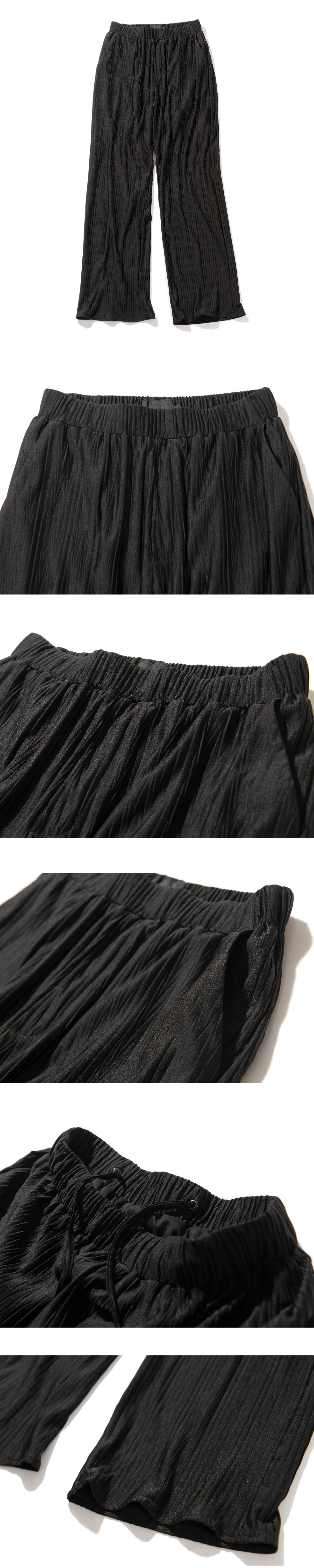 몽돌(MONGDOL) [셋업] 쿨 소프트 헤링본 오버핏 플리츠 셔츠 팬츠 셋업 블랙 MDSH001BLACKSET